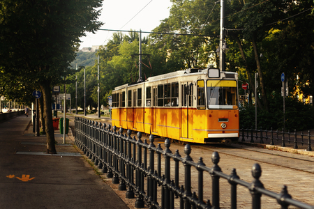 beautiful yellow old tram at green park, public transport, Budapest city street, travel concept Stock Photo