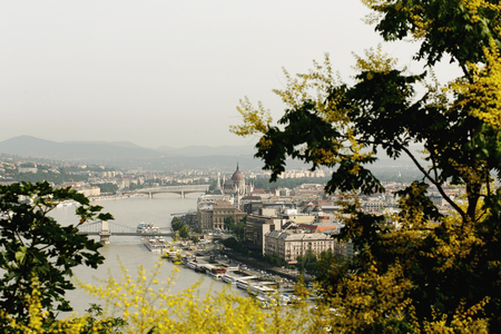 amazing  view at cityscape and river and park  in the morning light in Budapest city, travel concept, space for text Stock Photo
