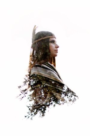 double exposure of native american indian woman and green trees in woods, free spirit and protection concept