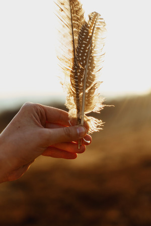 beautiful boho woman hand holding feathers in evening sunlight, peaceful inspirational moment Stock Photo