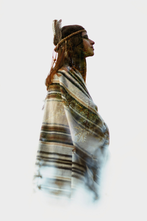 exterminating: double exposure of native american indian woman and green trees in woods, free spirit and protection concept