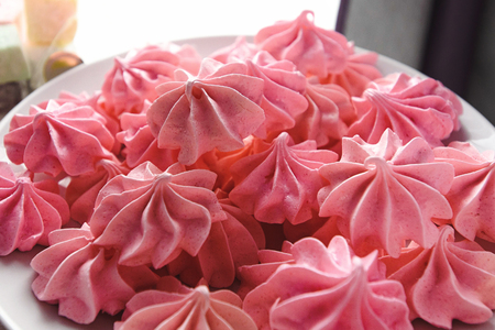 luxury delicious pink bizets at birthday celebration, delight dessert, catering party in a restaurant Фото со стока