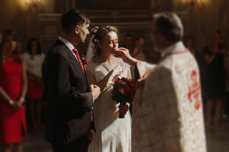 Beautiful Bride And Handsome Groom Kissing Wedding Rings Spiritual