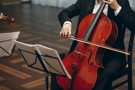Elegant string quartet performing at wedding reception in restaurant, handsome man in suits playing violin and cello at theatre play orchestra close-up, music concept 스톡 콘텐츠