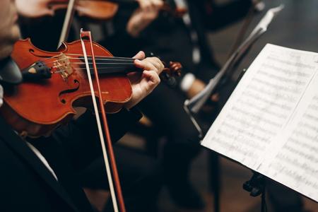 Elegante quartetto d'archi esibirsi al ricevimento di nozze nel ristorante, bell'uomo in giacca e cravatta violino e violoncello al primo piano dell'orchestra di suonare il teatro, concetto di musica Archivio Fotografico - 75729031