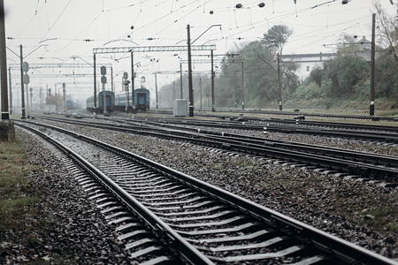 railway tracks transportation roads and platform with carriage
