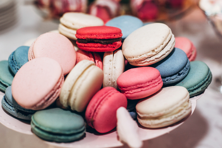 Delicious Macaroons Close Up Candy Bar At Luxury Wedding Reception