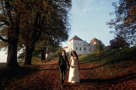 caras emociones: luxury wedding couple  walking holding hands in soft evening light at sunset near castle. sensual romantic moment of beautiful gorgeous bride and stylish groom outdoors Foto de archivo
