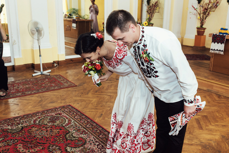 stylish bride and groom, traditional official wedding ceremony