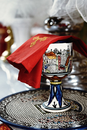 cup in catholic church or cathedral, religion concept, wedding traditional ceremony Stock Photo