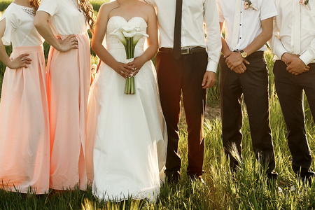 bride and groom with bridesmaids and groomsmen posing in sunlight evening in mountains. gorgeous wedding couple at reception, photo booth. boho newlyweds