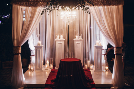 Wedding Venue Aisle With Candles In Glass Lanterns And Arch Stylish Decor For Evening