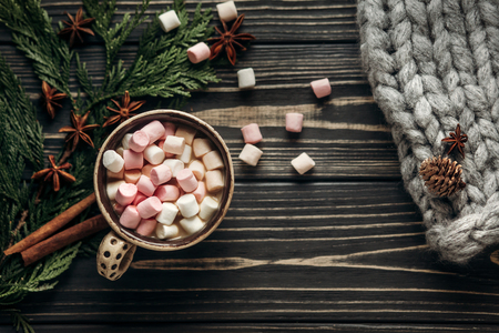 cup with colorful marshmallows cinnamon and anise and big yarn on rustic wooden background with space for text and green branches. stylish winter flat lay. greeting card. seasonal holidays concept