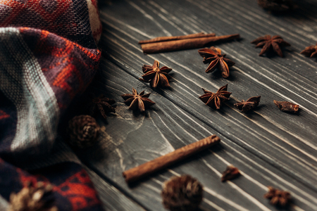 anise cinnamon on wooden rustic background. space for text. stylish winter or autumn wallpaper. cozy mood. seasonal holidays concept Banco de Imagens