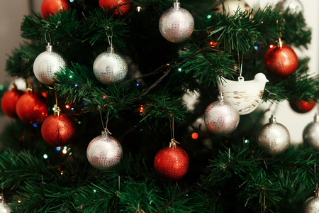 silver background: Silver and red christmas ornaments hanging from green christmas tree with blue lights, focus on cute white dove bird decoration