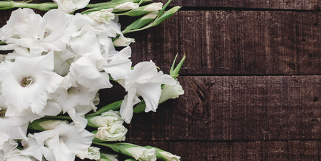 beautiful white gladioluses on rustic wooden background top view. stylish gladioli on rustic brown wood, space for text, holiday greeting card. floral flat lay, spring image Stock Photo