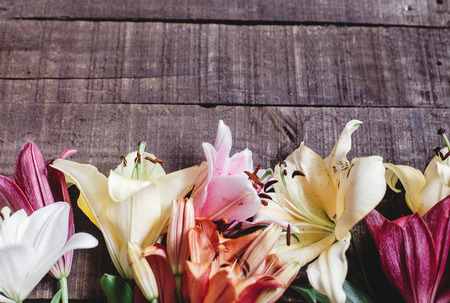 spring background, flowers top view. beautiful colorful lily flower on rustic wooden background. gorgeous bloom lilies on rustic wood backdrop. space for text. greeting card. celebration concept