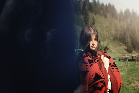 woman hipster at sky and  trees woods, creative unusual double exposure, travel wanderlust concept, space for text