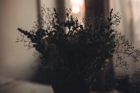 flowers silhouette in sunset light. wildflowers in sunlight in country house in evening room. beautiful bloom picture, atmospheric moment, rustic concept