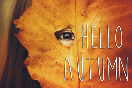 hello autumn fall text sign on beautiful girl black eye looking through yellow leaf on the background of sunny autumn forest. seasonal greeting card concept. creative fall image