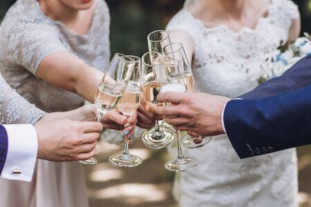 Couple of newlyweds, bride and groom together with bridesmaids and groomsmen drinking champagne outdoors hands closeup, wedding celebration with friends Stock Photo