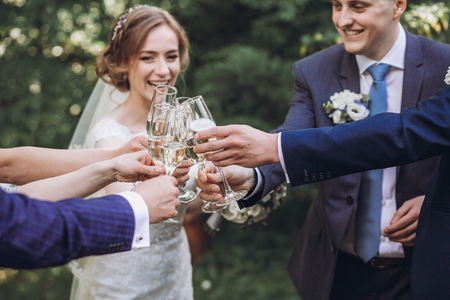 happy group of people toasting with champagne. hands holding glasses of champagne and clinking. bride bridesmaids and groom groomsmen having fun. holiday celebration. Stock Photo