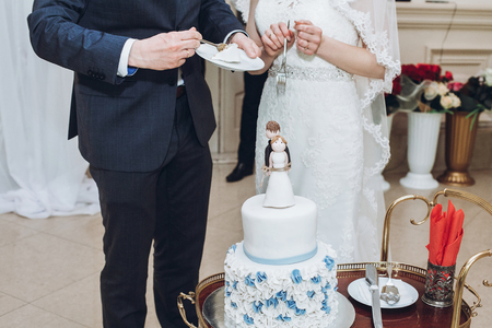 wedding couple tasting together delicious wedding cake with blue flowers and figurines on top, bride and groom tied forever concept at wedding reception in restaurant. luxury catering Stock Photo