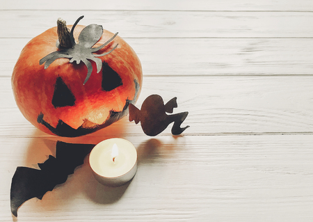 Happy Halloween. Jack O Lantern Pumpkin With Candles, Bowl, Witch ...
