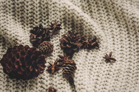 Cônes de pin élégant et anis sur la vue de dessus de fond chandail tricoté rustique, espace pour le texte. Banque d'images