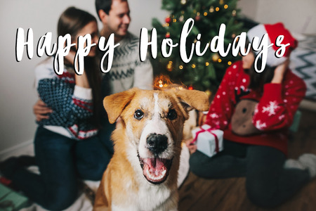 happy holidays text sign, greeting card. cute dog with lights and happy family having fun at christmas tree. happy family moments. merry christmas and happy new year concept