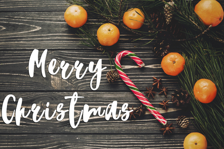 merry christmas text sign, greeting card. fresh tangerines and peppermint candy cane with green fir branches with cones on rustic wooden background top view. flat lay image, christmas concept
