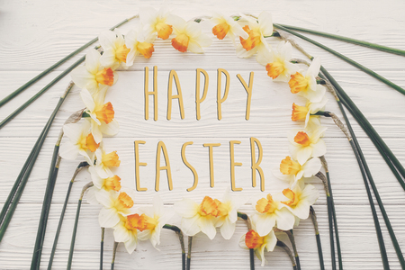 happy easter text flat lay with yellow flowers. stylish daffodils on rustic wooden background top view.  creative easter greeting card. space for text