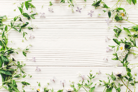 happy mothers day flat lay. beautiful lilac flowers and daisy frame on rustic white wooden background top view. space for text. greeting card mock-up. earth day. hello spring. eco