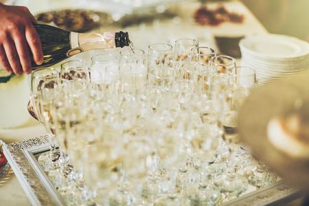 champagne golden glasses.