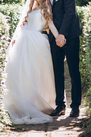 stylish bride in silk dress and groom in suit hugging in sunny garden on wedding day. luxury wedding couple, happy newlyweds family. romantic moments. Stock Photo
