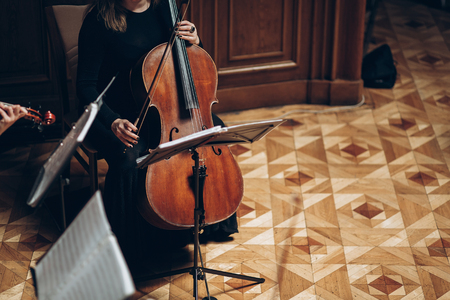 Elegant string quartet performing in luxury room at wedding reception in restaurant. woman in black playing on violin and cello at theatre orchestra, music concept. hands close-up Stock Photo