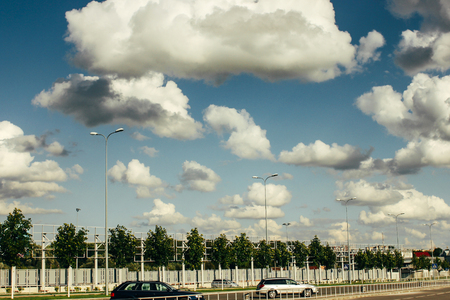 beautiful amazing view of sky and clouds on highway road near airport Stockfoto