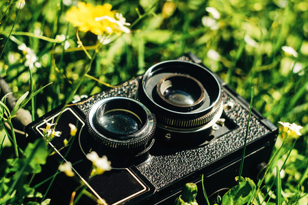 medium format film photo camera on green grass with flowers on sunny day Stock Photo