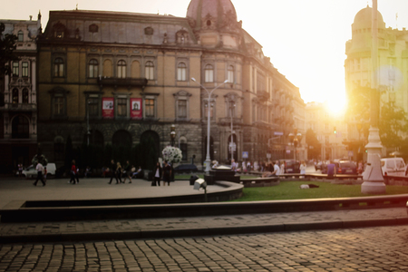 beautiful sunny evening on european city streets, in Lviv Ukraine, blurred image