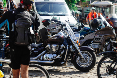 Lviv, Ukraine - May 6, 2017: cycling marathon VIII Lviv 100km ride, 425 bicycles, in the streets of the city. stylish steel vintage motor bikes of participants and athletes Editorial