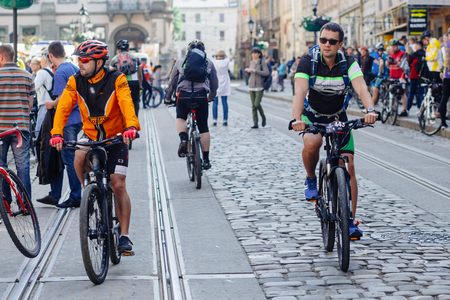 Lviv, Ukraine - May 6, 2017: cycling marathon VIII Lviv 100km ride, 425 bicycles, in the streets of the city. participants and athletes riding bikes Editorial