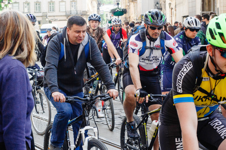 Lviv, Ukraine - May 6, 2017: cycling marathon VIII Lviv 100km ride, 425 bicycles, in the streets of the city. participants and athletes riding bikes, mass start