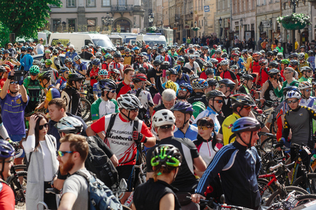 Lviv, Ukraine - May 6, 2017: cycling marathon VIII Lviv 100km ride, 425 bicycles, in the streets of the city. participants and athletes riding bikes. group people waiting for start