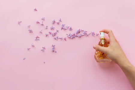 hand holding stylish bottle of perfume with spray of lilac flowers on pink background. creative trendy flat lay with space for text. modern image. perfumery and floral scent concept 스톡 콘텐츠
