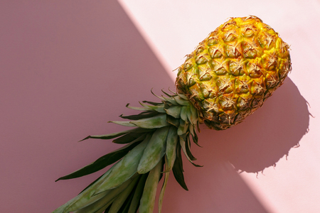 juicy pineapple on trendy pink paper background in sun light. flat lay. creative contrast summer image. vacation and party concept. space for text. summer holidays 版權商用圖片
