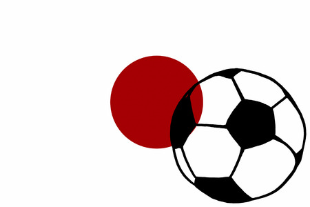 Football ball and Japan flag hand drawn simple Championship Soccer. Sketch or drawing in doodles style. Sport tournament