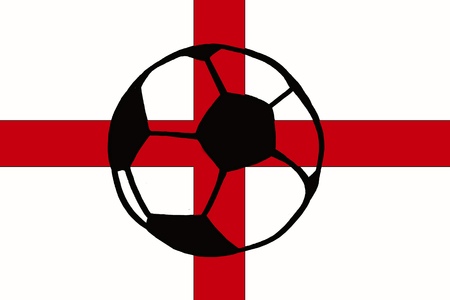 Football ball and England flag hand drawn simple illustration, soccer ball on flag.  Sketch or drawing in doodles style. Sport tournament
