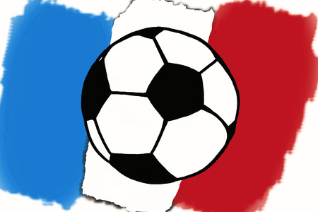 Football ball and France flag hand drawn simple illustration, soccer ball on flag.  Sketch or drawing in doodles style. Sport tournament