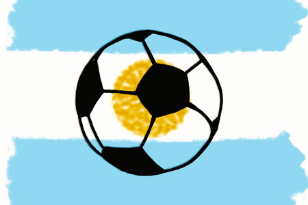 Football ball and Argentina flag hand drawn simple illustration, soccer ball on flag.  Sketch or drawing in doodles style. Sport tournament Stock Photo