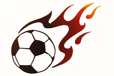 Soccer ball in fire, hand drawn simple illustration, black ball pattern with flame on white isolated. sketch or drawing in doodles style. Sport icon illustration for tournament